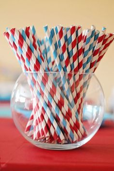 Season Opener: Baseball Party Ideas. Red & Aqua colors for this kids birthday party.