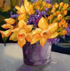 """Daily Paintworks - """"Wish for Spring"""" - Original Fine Art for Sale - © Libby Anderson"""