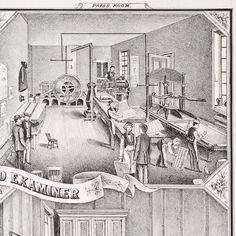 """This 1870s lithograph from an unidentified gazetteer for the state of Pennsylvania shows the interior of the printing office of """"The Review and Examiner"""" newspaper, published in Washington, Pennsylvania, just south of Pittsburgh. The men in aprons and dapper hats run the presses, fold pages, and move trays of type in the tidy (and unbelievably clean) press room."""