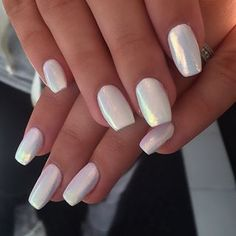 Pearl white nails – The Best Nail Designs – Nail Polish Colors & Trends Gorgeous Nails, Pretty Nails, Amazing Nails, How To Do Nails, Fun Nails, Crome Nails, Matte Nails, Opal Nails, Metallic Nails