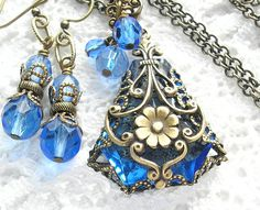 Floating Gardens - Filigree Wrapped Vintage Sapphire Glass Jewel Pendant Set