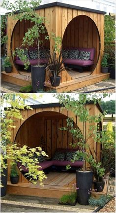 Pinterest /// chellejojo ♡ Select a corner of your house lawn and construct a sheltered place with pallets. Chairs, tables, sofas can be placed beneath it. During hours of daylight, it will prevent you from sunlight and darkness of night can also be endowed under it. The place can then be used as a study room or even a dining room. The usage of pallets makes the place antique and attracts the visitors. #GardenIdeas