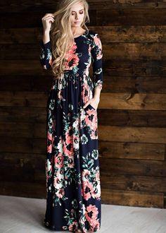 Women s Bohemian Floral Print Maxi Dress Neckline  O-Neck Silhouette  Loose  Material  e1669dc26f5