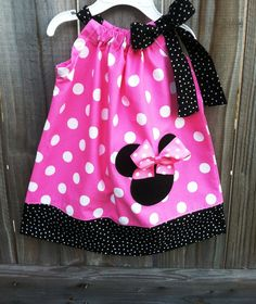 Beautiful Minnie Mouse in pink pillowcase dress.. $27.00, via Etsy.