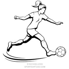 Soccer Girl Kicking #soccer #girl #design #sportsartzoo Football Girls, Girls Soccer, Ball Drawing, Drawing S, Football Doodle, Soccer Drawing, Soccer Art, Basketball, Girl Sketch