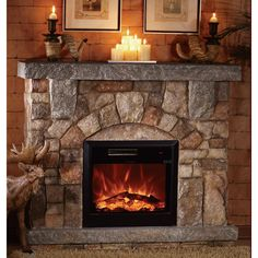Unifire Polystone Electric Fireplace with Mantel — 4400 BTU, Model# Indoor Electric Fireplace, Electric Fireplace With Mantel, Home Fireplace, Faux Fireplace, Fireplace Inserts, Fireplace Design, Fireplace Mantels, Electric Fireplaces, Mantles