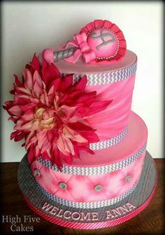 Pretty pink baby shower cake