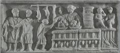 This is a market stall selling food and drink in Rome. A merchant stands near bowls of fruit and a tall, dense basket used to hold live snails. Other animals for sale include chickens, rabbits, and geese that poke their heads out from the bottom of the stall. The two monkeys are intended to attract customers. This marble relief was found on a Roman funerary stele dating to approximately the second century C.E.