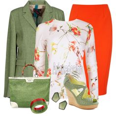 """Ted Baker Botanical Blouse"" by arjanadesign on Polyvore //  green necklace"