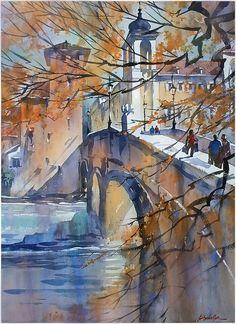 Watercolor landscape bridge