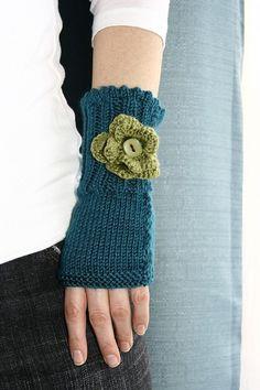 Teal blue knit fingerless gloves/ wristwarmers with apple green crochet flower