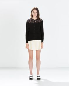 ZARA - WOMAN - LACE FRONT CARDIGAN