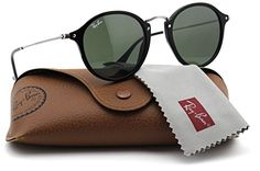 RayBan RB2447 901 Round Fleck Sunglasses Black Frame  Green Lens 49mm >>> See this great product.