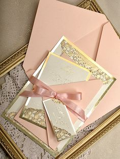 Peach and gold glitter invitation See more here: http://4lovepolkadots.com/p/7/407/8424/WEDDING%20INVITATIONS_06a/gls/z.html