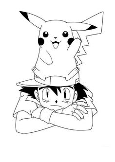 Pikachu And Ash As Teammate Coloring Page