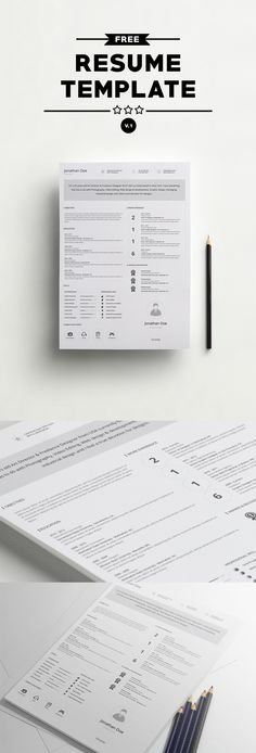 Free-Resume-Template-Design-PSD Resume PSD Pinterest Simple - simple professional resume template
