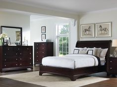 Burgess Queen Sleigh Bed - love the color scheme
