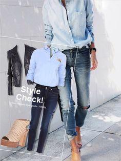 #FITUIN #jeans #codination #blueshirts #beigeshoes #leatherjacket #fituin