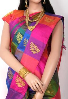 Multicolored Checked Designed with Leaf Jari Butta without Bordered Pure Silk Saree and Magenta Pink Colored Pallu and Blouse Part @ Rs. 7990 http://www.shreedevitextile.com/women/sarees/silk-saree/shree-devi/multicolored-pure-silk-saree
