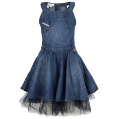 Denim dress with tulle