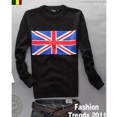 Men Long Sleeve Scoop Union Flag Design Black Knitting Sweater M/L/XL... ($32) via Polyvore