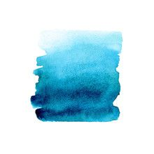 Vector Blue Gradient Hand Drawn Watercolor Abstract Brush Stroke