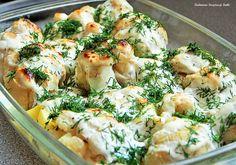 Kliknij i zobacz więcej. Cauliflower, Side Dishes, Food And Drink, Menu, Tasty, Vegan, Chicken, Dinner, Vegetables