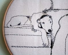 Naughty Dog_ Dog Embroidery stitched