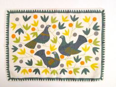Vintage Linen Placemat Tray Liner Birds Doves by PoolhausVintage