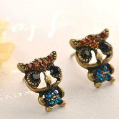 Rhinestone Owl Earrings  Copper - One Size