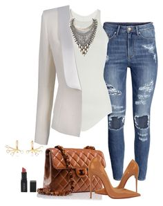 """""""Casual business look"""" by laetitiiia on Polyvore featuring H&M, Rick Owens, Balmain, DYLANLEX, Chanel, Christian Louboutin, Elizabeth and James and Smashbox"""
