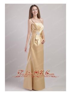 Champagne Column / Sheath Spaghetti Straps Floor-length Satin Appliques Bridesmaid Dress  http://www.fashionos.com  http://www.facebook.com/fashionos.us  Fans of feminine romantic dresses!It is features thin straps and a straight cut neckline. The whole midsection of the dress is cinched by a wide, irregular style waistband and features a beaded flower.This ingenuity design adds lots of visual interest.The brief floor-length skirt help to show your slim curve!
