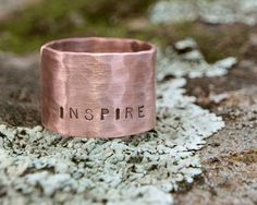 Graduation Gift Rustic Soft Copper Inspirational Personalized Rings with Word - Unique, Custom, Rustic, Rings with Meaning