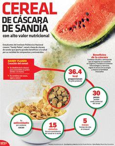 En la #Infographic te presentamos el cereal de cáscara de sandia que contiene un alto valor nutricional, y el cual fue creado por estudiantes del IPN.