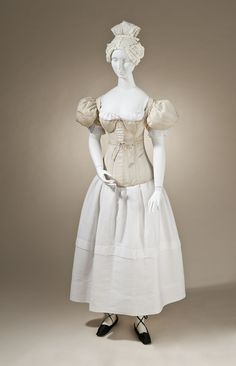 1830's undergarments, complete with sleeve plumpers, corset, chemise and petticoat. The sleeve plumpers crack me up.