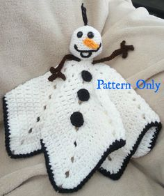 PATTERN: Instant download--Crochet Olaf the snowman from Frozen inspired Lovey Blanket for babies and children.