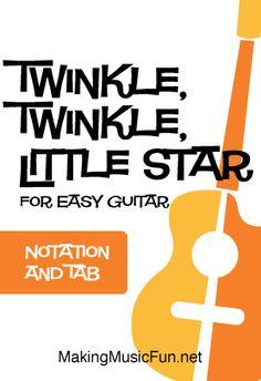 Twinkle, Twinkle, Little Star - Free Beginner Guitar Sheet Music (Tab) All Guitar Chords, Guitar Sheet Music, Easy Guitar, Guitar Solo, Guitar Scales, Guitar Picks, Learn Guitar Beginner, Guitar For Beginners, Free Printable Sheet Music