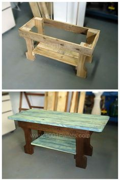 Pallet Furniture Projects Very simple coffee table built with 1 pallet only. The structure was stained in dark brown and for the top table and shelf below I made a patina with blue and green and then, sanded. - Greenish patina on coffee table. Diy Pallet Furniture, Shabby Chic Furniture, Furniture Projects, Rustic Furniture, Furniture Websites, Furniture Buyers, Furniture Cleaning, Furniture Nyc, French Furniture