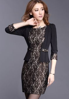 Love this Dress! Elegant Black  Lace Mini Party Dress #Elegant #Party_Dress #Black_Lace #Fashion
