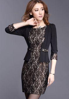 Love this Dress! Elegant Black  Lace Mini Party Dress #Elegant #Party_Dress #Black_Lace #Fashion