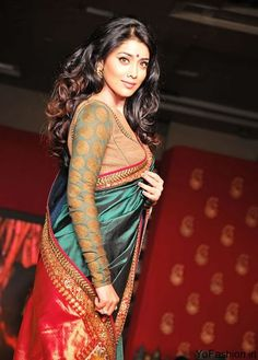 INDIAN ACTRESS: South Indian actress Shriya Saran backless bikini blouse saree at ramp walk Indian Film Actress, South Indian Actress, Indian Actresses, Tamil Actress, Bollywood Actress, Indian Blouse, Indian Sarees, Silk Sarees, Indian Attire
