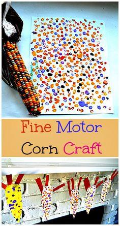 Fine Motor Thanksgiving art and craft. Make a fun corn craft garland
