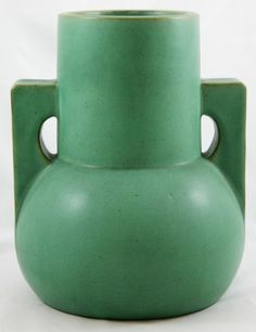 "Teco Vase, architectural shape with a mat green glaze, 8.5"" height"
