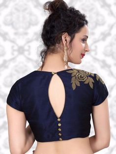 Navy Raw Silk Designer Ready Made Nice Blouse