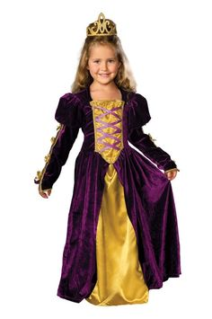 A lovely look, taken from the pages of a storybook! This beautiful Regal Queen Child Costume includes a dress made of rich, deep plum velveteen. The sweeping floor-length hem is accentuated by a silky inset panel in the center, crafted from soft golden yellow fabric. The velvety golden mock-corset bodice is crisscrossed with purple silk ribbon laces, and decadent gold brocade ribbon sets off the ruffled neckline. The lovely Juliet sleeves feature gorgeous gold ribbon accents and an elegant…