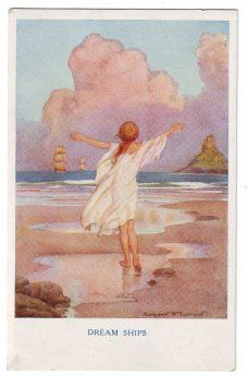 Margaret W. Tarrant (1888 -1959, English) vintage postcard - Dream ships