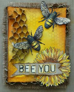 Bee You- Postcards from the Attic Kunstjournal Inspiration, I Love Bees, Bee Cards, Bee Happy, Save The Bees, Bees Knees, Artist Trading Cards, Bee Keeping, Mellow Yellow
