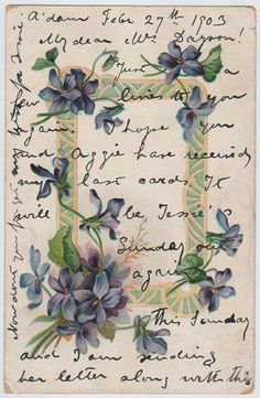 Violets (vintage postcard, c.1903) by dakota_boo, via Flickr