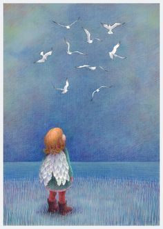 """I wish I could fly"" dessin de Kathy Hare, illustratrice anglaise en freelance…"