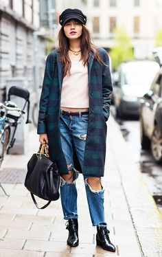 Ripped boyfriend jeans and a long plaid coat // #StreetStyle